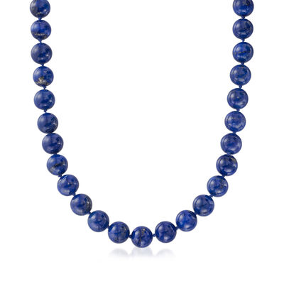 C. 1970 Vintage 12mm Lapis Bead Necklace, , default