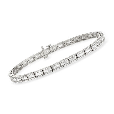 3.00 ct. t.w. Baguette and Round Diamond Bracelet in Sterling Silver