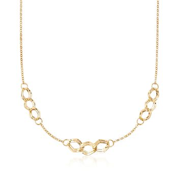 """Italian 14kt Yellow Gold Triple-Link Station Necklace. 20"""", , default"""