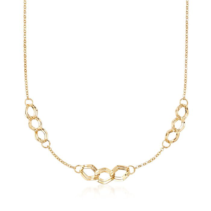 Italian 14kt Yellow Gold Triple-Link Station Necklace, , default