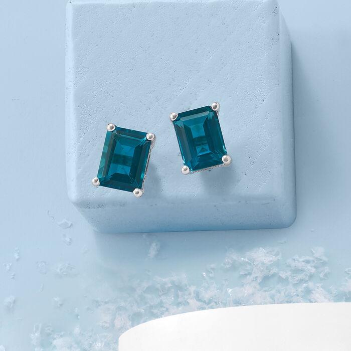 3.00 ct. t.w. London Blue Topaz Stud Earrings in Sterling Silver
