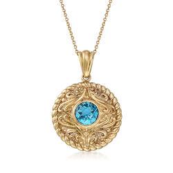 1.70 Carat Blue Topaz Pendant Necklace in 14kt Yellow Gold, , default
