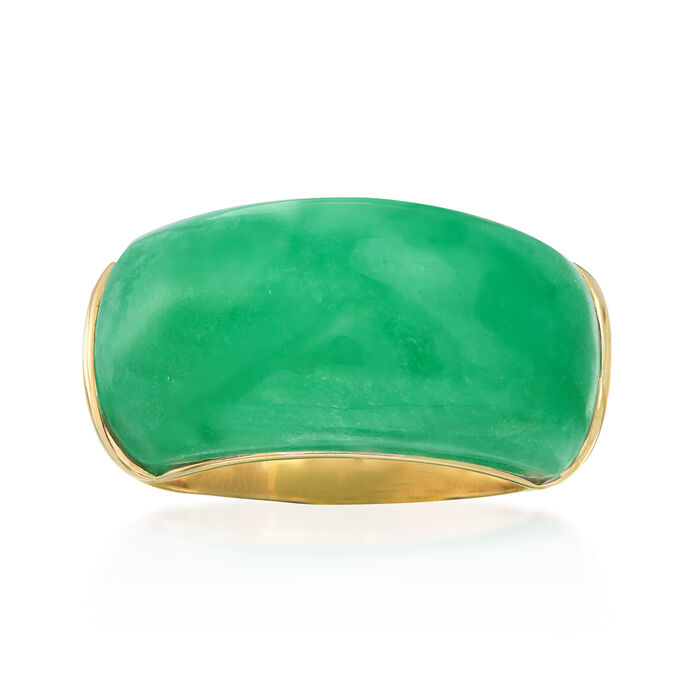 20x10mm Green Jade Ring in 14kt Yellow Gold. Size 5, , default