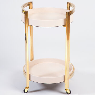 Blush Pink and Gold Round Bar Cart, , default