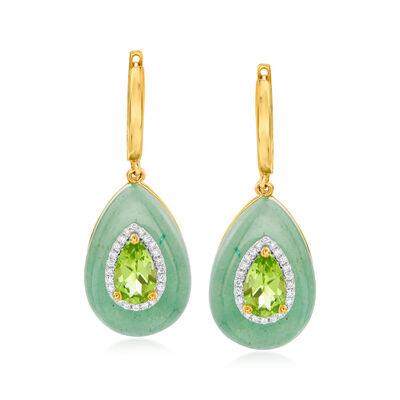 Aventurine, 1.60 ct. t.w. Peridot and .16 ct. t.w. Diamond Drop Earrings in 14kt Yellow Gold, , default