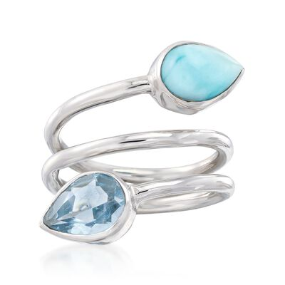 Larimar and 2.00 Carat Blue Topaz Twist Ring in Sterling Silver, , default