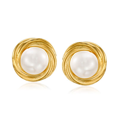 7mm Cultured Pearl Knot Earrings in 14kt Yellow Gold