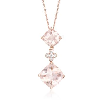 "3.00 ct. t.w. Morganite Pendant Necklace With Diamond Accents in 14kt Rose Gold. 16"", , default"