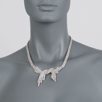 "C. 1985 Vintage 25.00 ct. t.w. Diamond Bow Necklace in 18kt White Gold. 18"", , default"