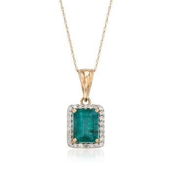 """2.10 Carat Emerald and .26 ct. t.w. Diamond Pendant Necklace in 14kt Yellow Gold. 18"""", , default"""