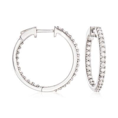 1.00 ct. t.w. Diamond Inside-Outside Hoop Earrings in Sterling Silver, , default