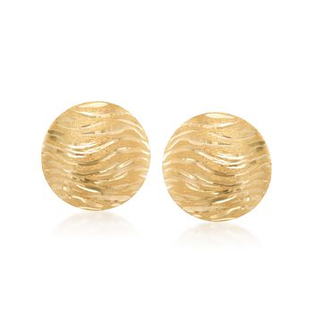 Italian 18kt Yellow Gold Diamond-Cut and Textured Dome Earrings., , default