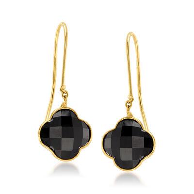 Italian Black Onyx Clover Drop Earrings in 14kt Yellow Gold