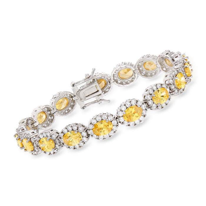 16.80 ct. t.w. Yellow and White CZ Bracelet in Sterling Silver, , default