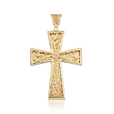 Italian 18kt Yellow Gold Brushed and Polished Floral Filigree Cross Pendant
