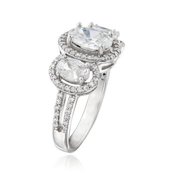 2.69 ct. t.w. CZ Three-Stone Ring in Sterling Silver, , default