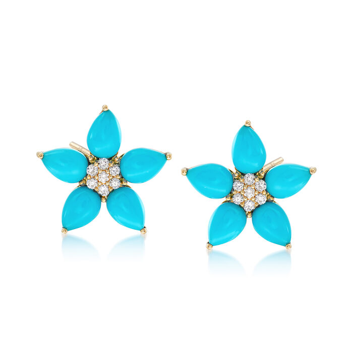 6x4mm Turquoise and .14 ct. t.w. Diamond Flower Earrings in 14kt Yellow Gold