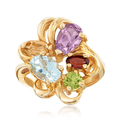 C. 1980 Vintage 2.40 ct. t.w. Multi-Gem Ring in 14kt Yellow Gold, , default