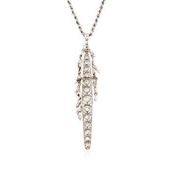 "C. 1980 Vintage 2.30 ct. t.w. Diamond Linear Floral Pendant Necklace in 18kt White Gold. 15"", , default"