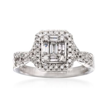 .60 ct. t.w. Baguette and Round Diamond Illusion Ring in 14kt White Gold, , default