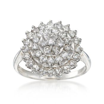 C. 1990 Vintage 1.05 ct. t.w. Diamond Cluster Ring in 14kt White Gold. Size 7.5, , default