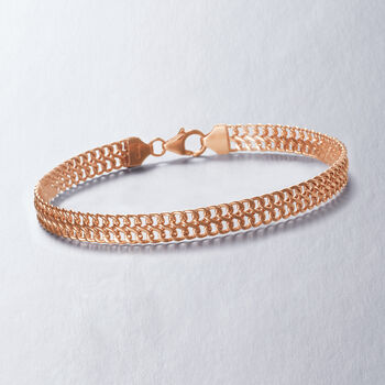"""Italian 14kt Rose Gold Two-Row Cable Bracelet. 8"""", , default"""