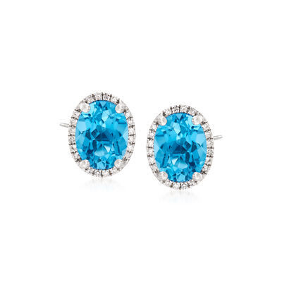 4.00 ct. t.w. Blue Topaz Stud Earrings with .10 ct. t.w. Diamonds in 14kt White Gold, , default