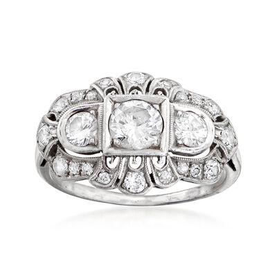 C. 1950 Vintage 1.40 ct. t.w. Diamond Filigree Ring in Platinum, , default