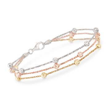 "Tri-Colored Sterling Silver Three-Strand Bead Bracelet. 7.5"", , default"