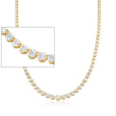 20.00 ct. t.w. Graduated CZ Tennis Necklace in 14kt Gold Over Sterling, , default