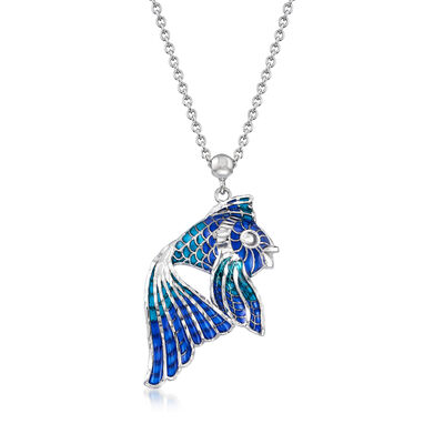 Italian Blue Enamel Fish Necklace in Sterling Silver, , default
