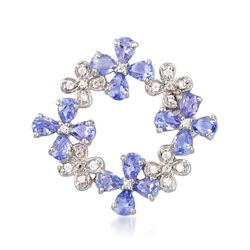 2.20 ct. t.w. Tanzanite and .10 ct. t.w. White Zircon Floral Pin in Sterling Silver, , default