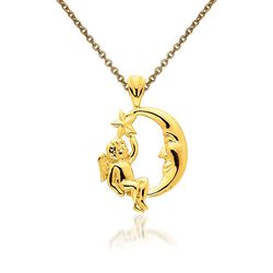 "14kt Yellow Gold Angel, Moon and Star Pendant Necklace. 18"", , default"