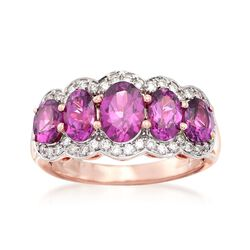 2.90 ct. t.w. Rhodolite and .33 ct. t.w. Diamond Ring in 14kt Rose Gold, , default