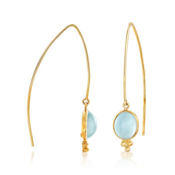 Mazza 6.40 ct. t.w. Aquamarine Drop Earrings in 14kt Yellow Gold, , default