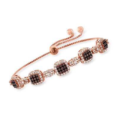 1.50 ct. t.w. Brown and White CZ Bolo Bracelet in 18kt Rose Gold Over Sterling