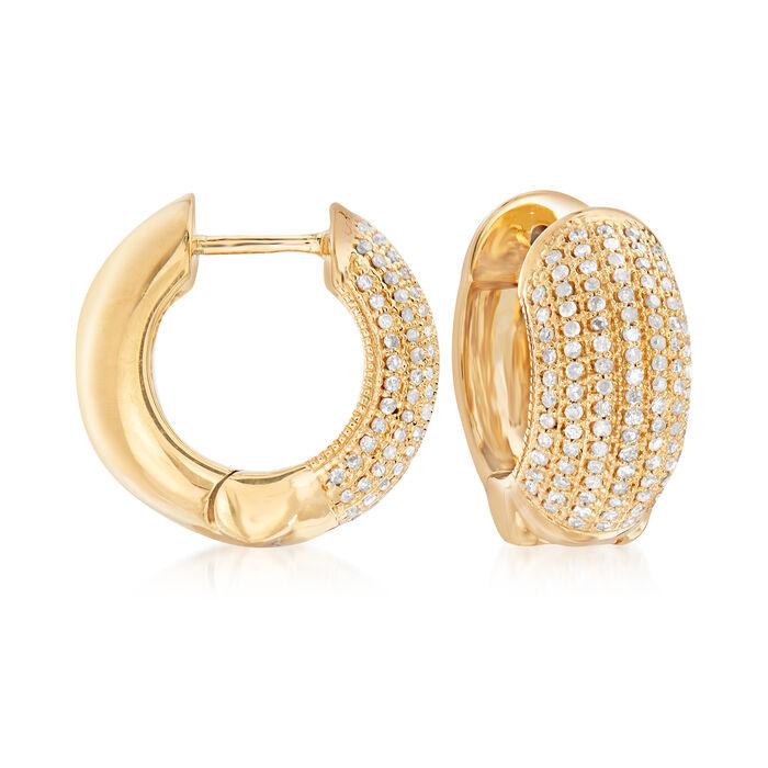 ".50 ct. t.w. Diamond Multi-Row Hoop Earrings in 18kt Gold Over Sterling. 1/2"", , default"