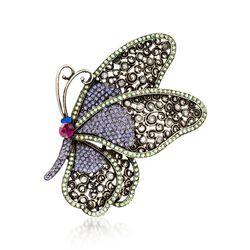 Multicolored Crystal Butterfly Pin Pendant, , default