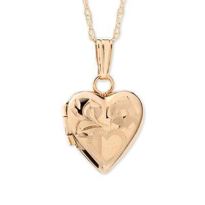 Child's 14kt Yellow Gold Heart Locket Necklace, , default