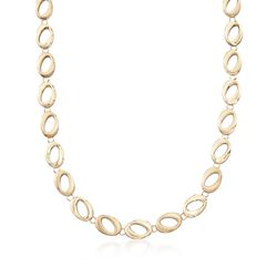 "14kt Yellow Gold Brushed and Polished Abstract Oval-Link Necklace. 17"", , default"