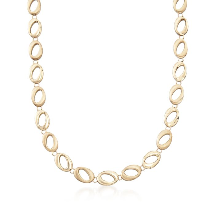 """14kt Yellow Gold Brushed and Polished Abstract Oval-Link Necklace. 17"""", , default"""