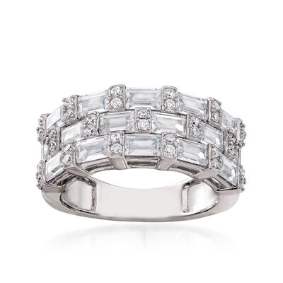 3.00 ct. t.w. CZ Three-Row Ring in Sterling Silver
