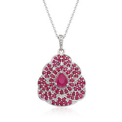 "4.30 ct. t.w. Ruby Pendant Necklace With Diamond Accents in Sterling Silver. 18"", , default"