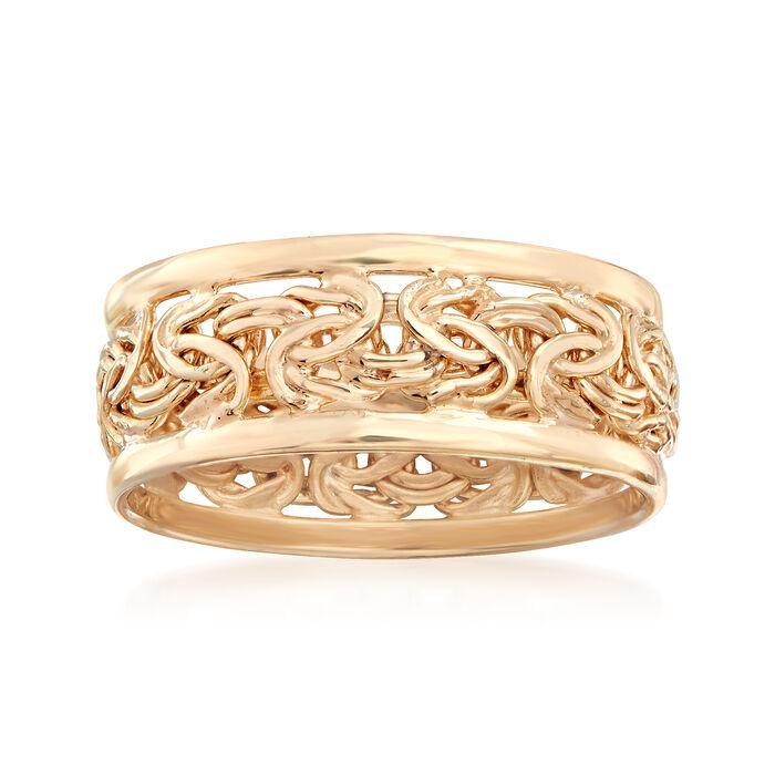 18kt Gold Over Sterling Byzantine Ring