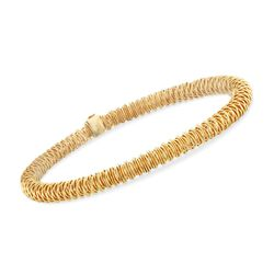 Italian 18kt Yellow Gold Over Sterling Stretch Coil Bracelet, , default