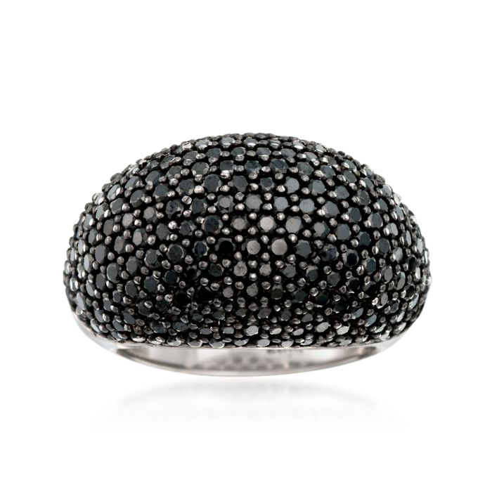 3.40 ct. t.w. Black Spinel Dome Ring in Sterling Silver. Size 8