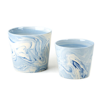 Terre Melee Set of 2 Blue Flared Ceramic Containers, , default