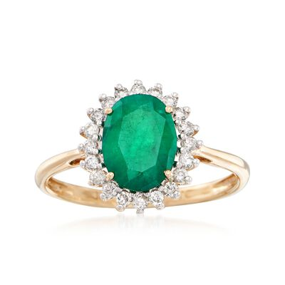 1.50 Carat Emerald and .24 ct. t.w. Diamond Ring in 14kt Yellow Gold, , default