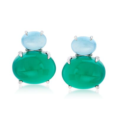 Aqua Blue and Green Chalcedony Drop Earrings in Sterling Silver, , default