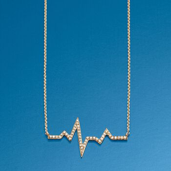 """.13 ct. t.w. Diamond Heartbeat Necklace in 14kt Yellow Gold. 18"""", , default"""